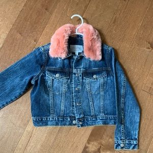 Girls denim jacket with removable for collar